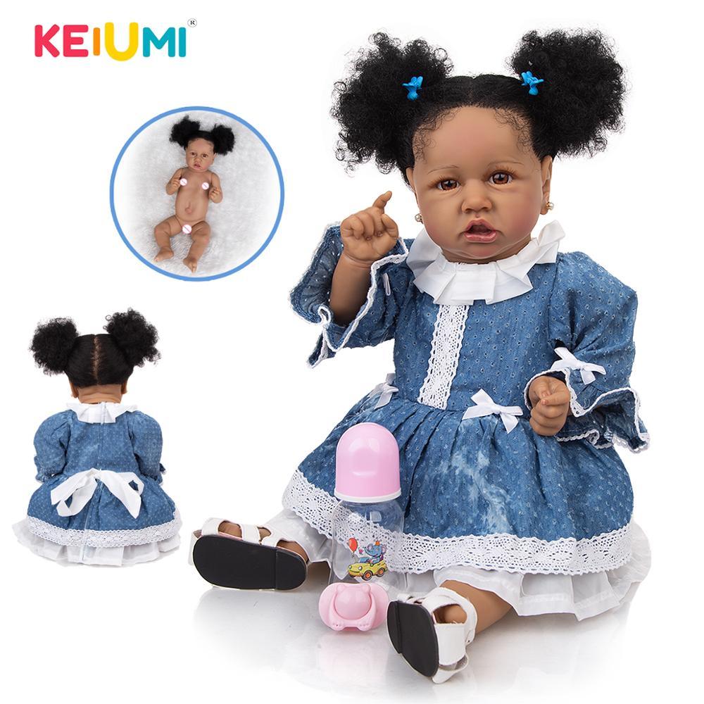 Full silicone KEIUMI 57 CM Soft Silicone Reborn Baby Dolls 2020 Fashion Toddler Boneca Tan Skin Bath Doll Toys Kids Playmate